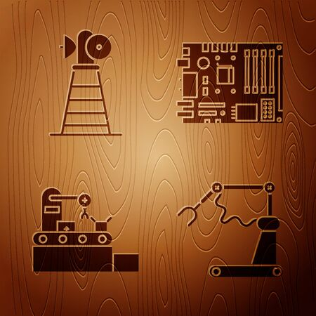 Set Industrial machine robotic robot arm hand factory, Antenna, Factory conveyor system belt and Electronic computer components motherboard digital chip on wooden background. Vector  イラスト・ベクター素材