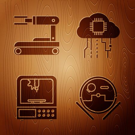 Set Robot vacuum cleaner, Robot, 3D printer and Internet of things on wooden background. Vector Imagens - 143885574