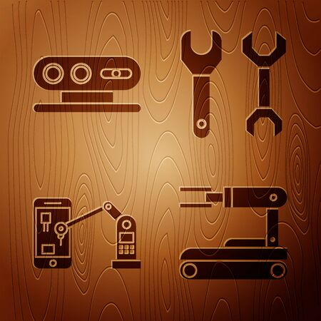 Set Robot, 3d scanning system, Industrial machine robotic robot arm hand and Spanner on wooden background. Vector