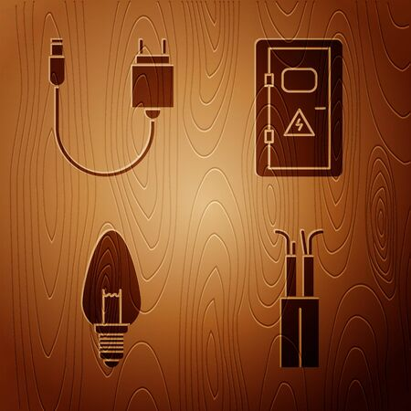 Set Electric cable, Charger, Light bulb and Electrical cabinet on wooden background. Vector