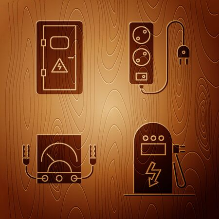 Set Electric car charging station, Electrical cabinet, Ampere meter, multimeter, voltmeter and Electric extension cord on wooden background. Vector