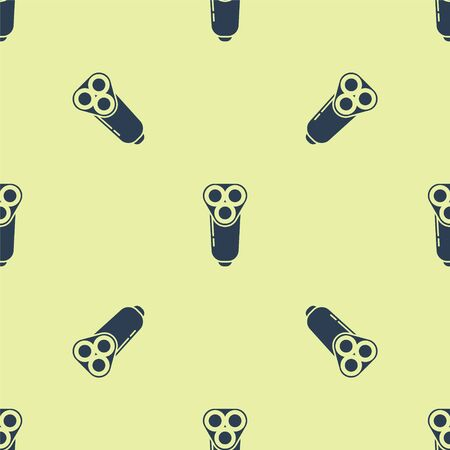 Blue Electric razor blade for men icon isolated seamless pattern on yellow background. Electric shaver. Vector Illustration