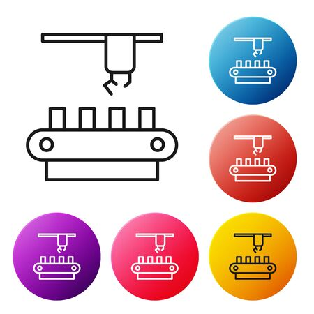 Black line Factory conveyor system belt icon isolated on white background. Robot industry concept. Set icons colorful circle buttons. Vector Illustration