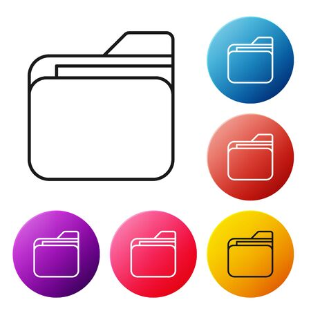 Black line Document folder icon isolated on white background. Accounting binder symbol. Bookkeeping management. Set icons colorful circle buttons. Vector Illustration