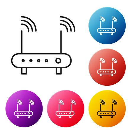 Black line Router and wifi signal symbol icon isolated on white background. Wireless modem router. Computer technology internet. Set icons colorful circle buttons. Vector Illustration Illustration