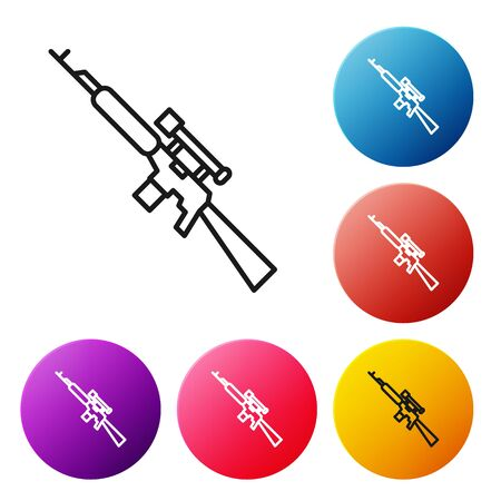 Black line Sniper rifle with scope icon isolated on white background. Set icons colorful circle buttons. Vector Illustration