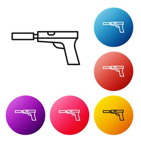 Black line Pistol or gun with silencer icon isolated on white background. Set icons colorful circle buttons. Vector Illustration
