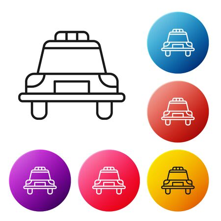 Black line Police car and police flasher icon isolated on white background. Emergency flashing siren. Set icons colorful circle buttons. Vector Illustration