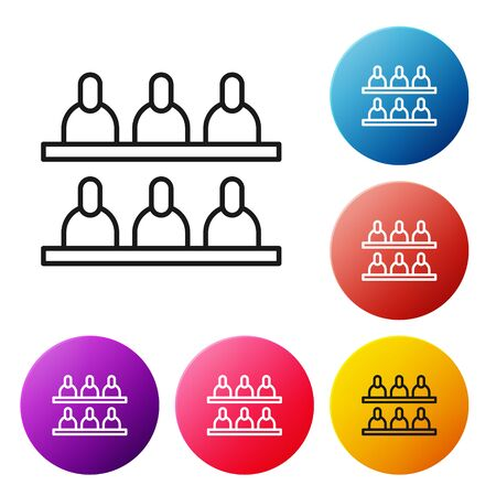 Black line Jurors icon isolated on white background. Set icons colorful circle buttons. Vector Illustration