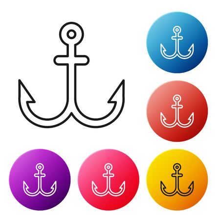 Black line Anchor icon isolated on white background. Set icons colorful circle buttons. Vector Illustration