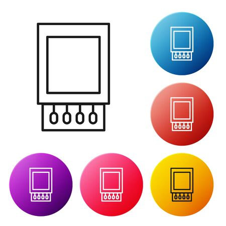 Black line Open matchbox and matches icon isolated on white background. Set icons colorful circle buttons. Vector Illustration