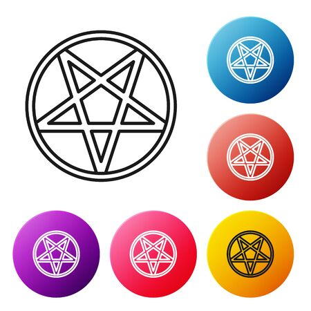 Black line Pentagram in a circle icon isolated on white background. Magic occult star symbol. Set icons colorful circle buttons. Vector Illustration