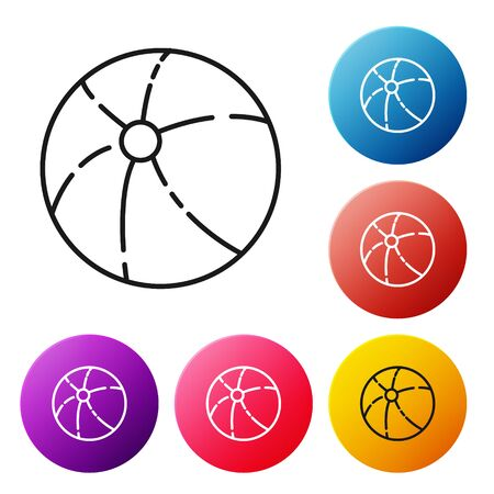 Black line Beach ball icon isolated on white background. Set icons colorful circle buttons. Vector Illustration
