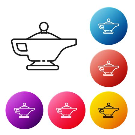 Black line Magic lamp icon isolated on white background. Spiritual lamp for wish. Set icons colorful circle buttons. Vector Illustration