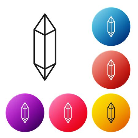 Black line Magic stone icon isolated on white background. Fantasy crystal. Jewelry gem for game. Set icons colorful circle buttons. Vector Illustration 向量圖像