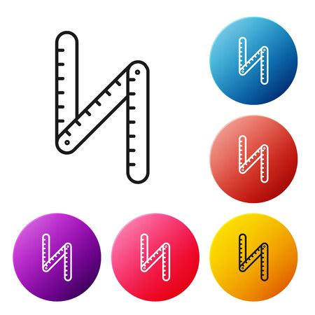 Black line Folding ruler icon isolated on white background. Set icons colorful circle buttons. Vector Illustration