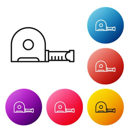 Black line Roulette construction icon isolated on white background. Tape measure symbol. Set icons colorful circle buttons. Vector Illustration