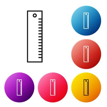 Black line Ruler icon isolated on white background. Straightedge symbol. Set icons colorful circle buttons. Vector Illustration 向量圖像