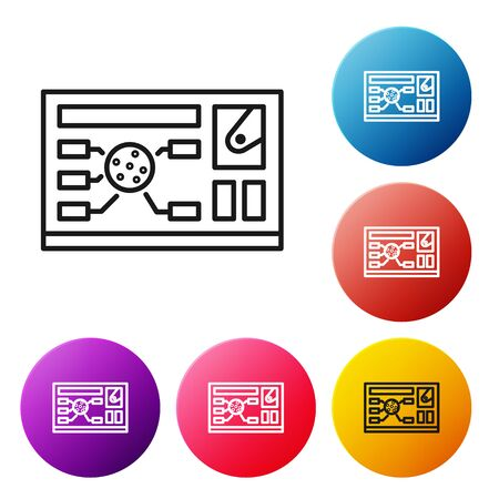 Black line Futuristic hud interface icon isolated on white background. Hologram ui infographic, interactive globe and cyber sky fi screen. Set icons colorful circle buttons. Vector Illustration