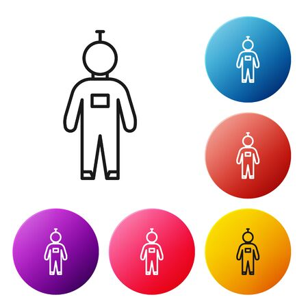 Black line Astronaut icon isolated on white background. Set icons colorful circle buttons. Vector Illustration