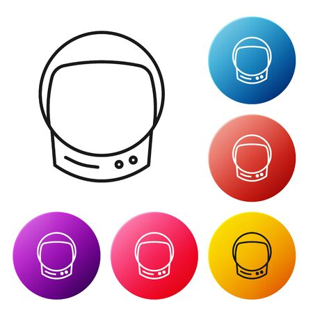 Black line Astronaut helmet icon isolated on white background. Set icons colorful circle buttons. Vector Illustration