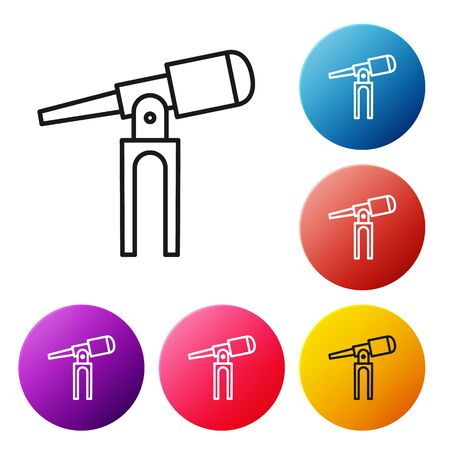 Black line Telescope icon isolated on white background. Scientific tool. Education and astronomy element, spyglass and study stars. Set icons colorful circle buttons. Vector Illustration