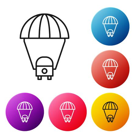 Black line Space capsule returning to earth via parachute icon isolated on white background. Set icons colorful circle buttons. Vector Illustration Ilustração
