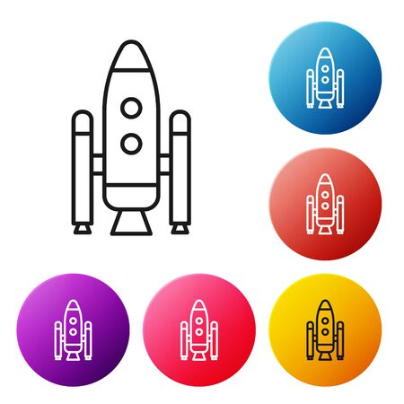 Black line Space shuttle and rockets icon isolated on white background. Set icons colorful circle buttons. Vector Illustration