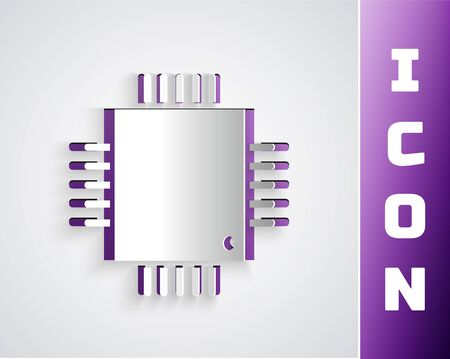 Paper cut Computer processor with microcircuits CPU icon isolated on grey background. Chip or cpu with circuit board sign. Micro processor. Paper art style. Vector Illustration