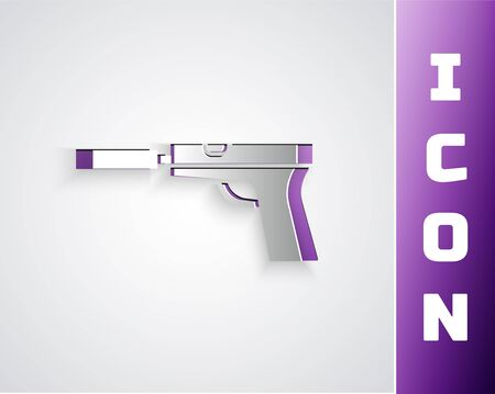 Paper cut Pistol or gun with silencer icon isolated on grey background. Paper art style. Vector Illustration Ilustração