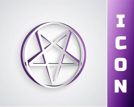 Paper cut Pentagram in a circle icon isolated on grey background. Magic occult star symbol. Paper art style. Vector Illustration 向量圖像