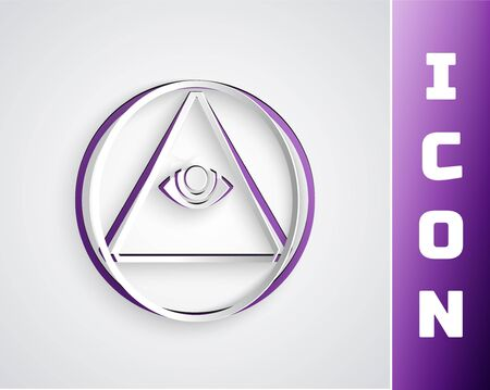 Paper cut symbol All-seeing eye of God icon isolated on grey background. The eye of Providence in the triangle. Paper art style. Vector Illustration