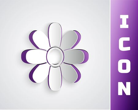 Paper cut Flower icon isolated on grey background. 8 March. International Happy Women Day. Paper art style. Vector Illustration