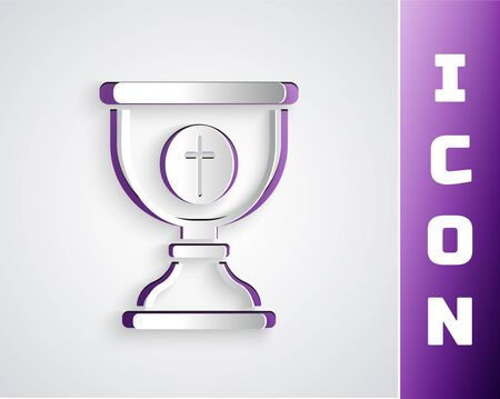 Paper cut Christian chalice icon isolated on grey background. Christianity icon. Happy Easter. Paper art style. Vector Illustration