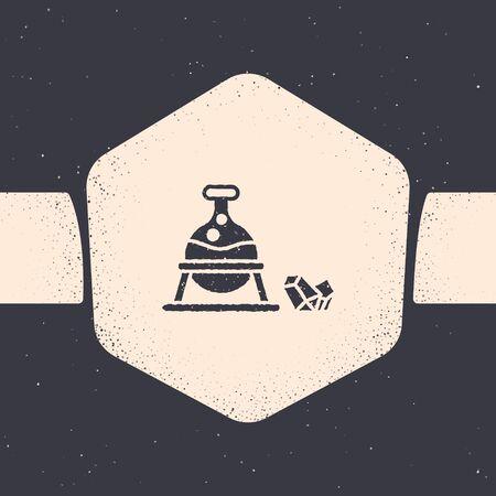 Grunge Witch cauldron and magic stone icon isolated on grey background. Monochrome vintage drawing. Vector Illustration
