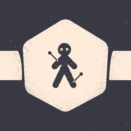Grunge Voodoo doll icon isolated on grey background. Monochrome vintage drawing. Vector Illustration Illustration