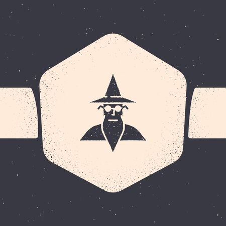 Grunge Wizard warlock icon isolated on grey background. Monochrome vintage drawing. Vector Illustration