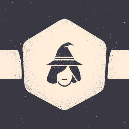 Grunge Witch icon isolated on grey background. Happy Halloween party. Monochrome vintage drawing. Vector Illustration 向量圖像
