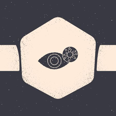 Grunge Reddish eye due to virus, bacterial or allergic conjunctivitis icon isolated on grey background. Monochrome vintage drawing. Vector Illustration 向量圖像