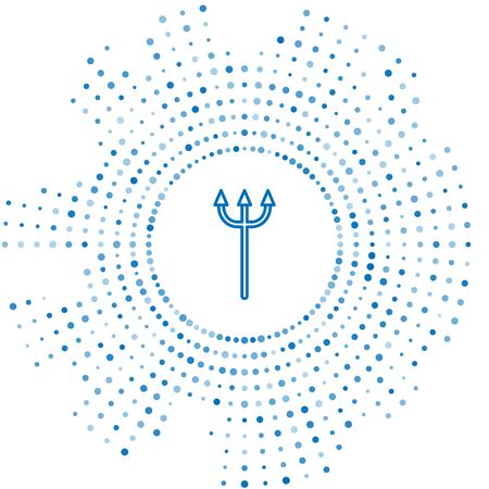 Blue line Neptune Trident icon isolated on white background. Abstract circle random dots. Vector Illustration