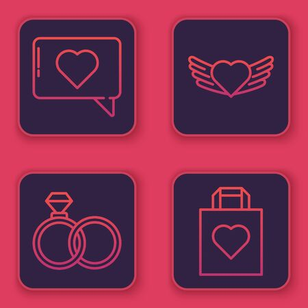 Set line Like and heart, Wedding rings, Heart with wings and Shopping bag with heart. Blue square button. Vector