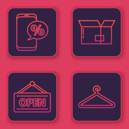 Set line Percent discount and phone, Hanging sign with Open, Carton cardboard box and Hanger wardrobe. Blue square button. Vector