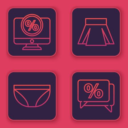 Set line Percent discount and monitor, Underwear, Skirt and Discount percent tag. Blue square button. Vector