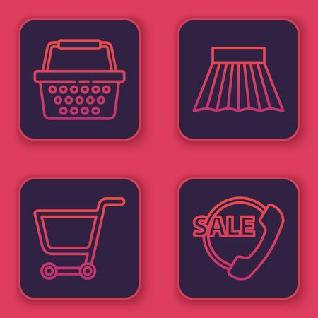 Set line Shopping basket, Shopping cart, Skirt and Telephone 24 hours support. Blue square button. Vector