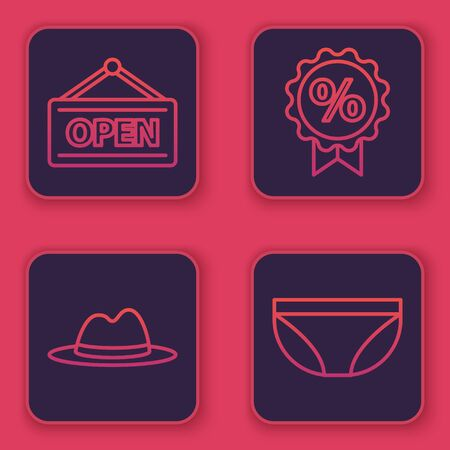 Set line Hanging sign with Open, Man hat with ribbon, Discount percent tag and Underwear. Blue square button. Vector