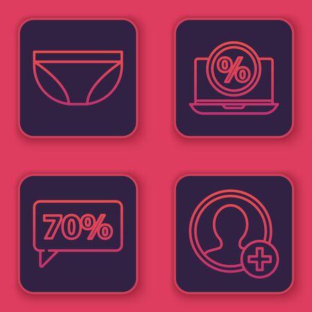 Set line Underwear, Seventy discount percent tag, Percent discount and laptop and Create account screen. Blue square button. Vector 向量圖像