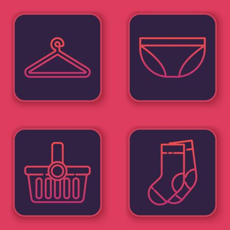 Set line Hanger wardrobe, Shopping basket, Underwear and Socks. Blue square button. Vector