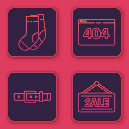 Set line Socks, Leather belt, Page with a 404 error and Hanging sign with Sale. Blue square button. Vector 向量圖像