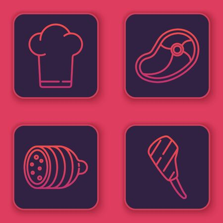 Set line Chef hat, Salami sausage, Steak meat and Rib eye steak. Blue square button. Vector