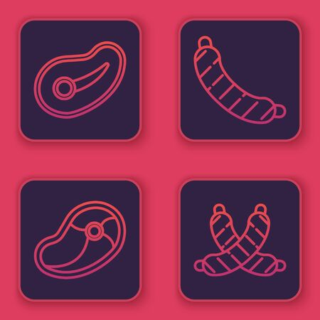 Set line Steak meat, Steak meat, Sausage and Crossed sausage. Blue square button. Vector
